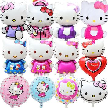 Big Size Hello Kitty Cat Foil Balloons Cartoon Birthday Wedding Decoration Party Inflatable Air Balloons Classic Toys