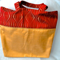 Large market bag gold decorator fabric with red and gold accent