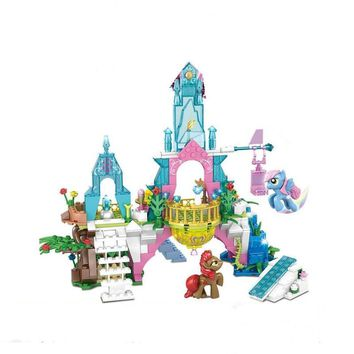 New Girl Princess Building Blocks Model My Little Horse Crystal Castle Unicorn Figure Legoingly Brick Toy Children Gift