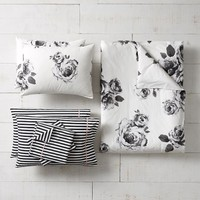 The Emily & Meritt Bed of Roses Black/Ivory Duvet Bundle
