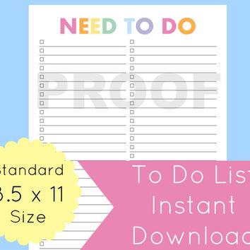 To Do List Printable, To Do List Planner, Printable To Do List, Printable Planner Pages, Daily To Do List, 8.5 x 11 Planner, Planner Pages