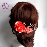 Kanzashi Flower , Beautiful coral Flower . tone comb , hair accessory