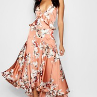 Boutique Lo Floral Satin Ruffle Dip Hem Dress | Boohoo