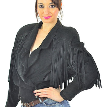 Leather Fringe Jacket black suede cropped biker moto jacket