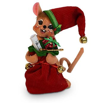 Annalee Dolls 6in 2018 Christmas Jinglebell Santa Mouse Plush New with Tags