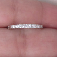 Take 10% off w/ Coupon Code Art Deco Old Cut Diamond Wedding Anniversary Band Ring 18k White Gold Half Eternity Stacking Ring Hand Engraved