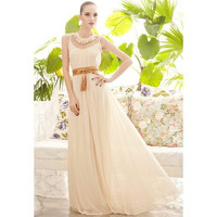 Drape Neck Sleeveless Chiffon Maxi Dress