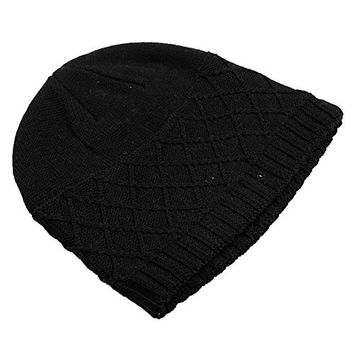 BB Gossip Men's Plaids Pattern Thinsulate Knitted Warm Skinning Hats Black