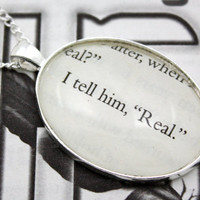 Hunger Games 'I Tell Him, 'Real'' Book Page Necklace