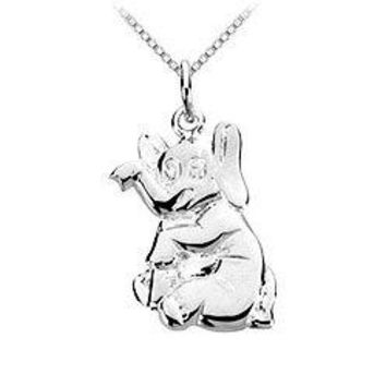 Sterling Silver Charming Animal Elephant Charm Pendant