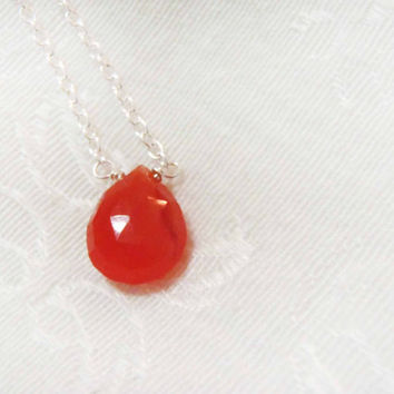 Carnelian Faceted Briolette necklace - Sterling Silver or Gold Filled Chain with semi-precious gemstone - dainty, natural gem