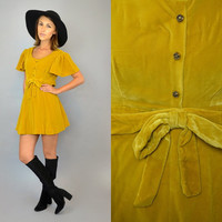 vtg 60's GOLDENROD VELVET babydoll steampunk retro mod MINI dress, small-medium