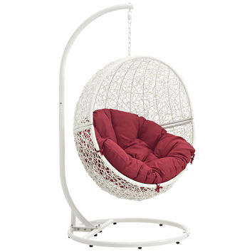 Hide Outdoor Patio Swing Chair White Red