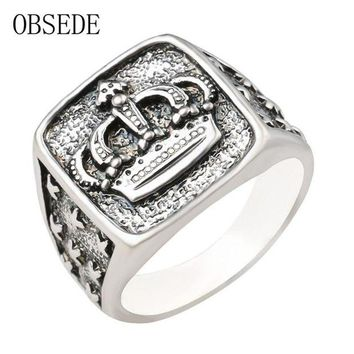 ac spbest OBSEDE Punk New Arrival Silver Color Crown Signet Ring Men Carved Star Vintage Ring Male Jewelry Cool Unique Gift Drop Shipping