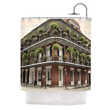 "Sylvia Cook ""New Orleans Street Corner"" Green Brown Shower Curtain"