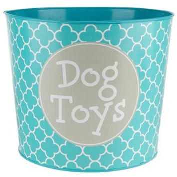 Turquoise & White Lattice Dog Toys Metal Bucket | Shop Hobby Lobby