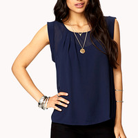 Pleated Cap Sleeve Top