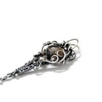 Sterling zilver wire wrapped smokey kwarts hanger