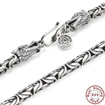 Men's Chains 925 Sterling Silver Dragon Necklace