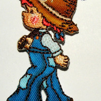 Girl Farmer   Cute farm girl iron on applique will be an adorable adddition to your garment Applique patch Iron-On or Sew to Any Garment