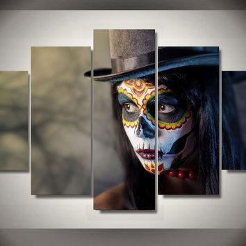 Day of the Dead Face Makeup Hat 5 piece panel group wall art canvas print