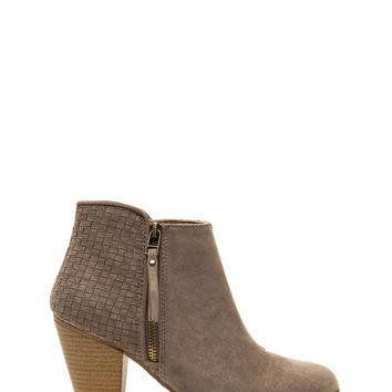 All Together Woven Faux Suede Booties