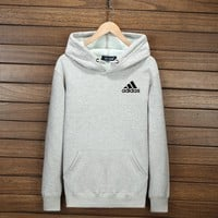 Adidas Women Men Fashion Hooded Top Pullover Sweater Sweatshirt Hoodie Wine Light grey I-YSSA-Z