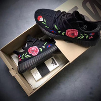 Adidas Yeezy Boost 350 Floral Embroidered Black Sneaker