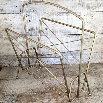 Magazine Rack Magazine Holder Metal Magazine Rack Mid Century Magazine Rack Gold Tone Magazine Holder Vintage Record Holder Album Holder
