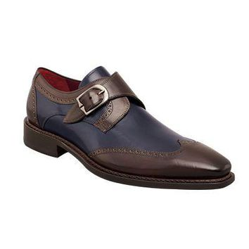 Men Brown Blue Brogue Wingtip Single Monk Strap Genuine Leather Shoes