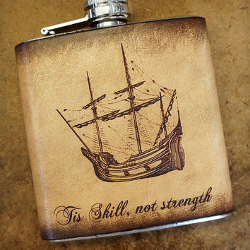 Custom Stainless Steel & Leather Flask - Antique Ship