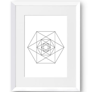 Polygon art, Hexagon, Line art, Swedish, Home Decor, Mid Century Modern, Scandinavian Print, Geometric art, Printables, Digital Print