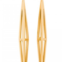 Melinda Maria Pyramid Cage Gold Earrings
