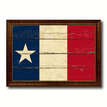 Texas Dodsons Historical Military Flag Vintage Canvas Print with Brown Picture Frame Gifts Ideas Home Decor Wall Art Decoration