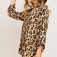 Leopard V-Neck Tunic Top - Brown