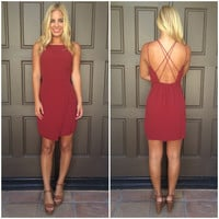 Lighten Up Criss Cross Dress - WINE