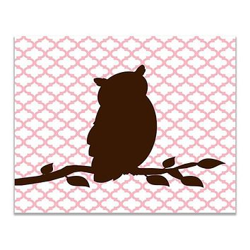 Owl on a Branch Children's Print Wall Art