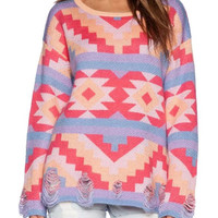 Multicolor Geometric Ripped Long Sleeve Knitted Sweater