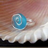 Deepest Ocean Blue Ring: Fine Silver Spiral Swirl Wire Wrapped Sea Glass Beach Jewelry, Size 6, Teal Blue Freeform Ring