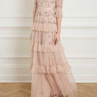LUSTRE RUFFLE GOWN