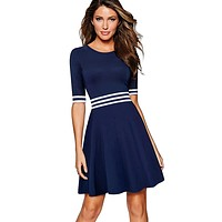 Women White and Dark Blue Striped Patchwork Half Sleeve Tunic Vintage Casual Work Party Fit and Flare A-line Skater Dress EA059