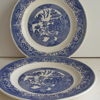 Pr Blue Willow Plates Blue and White Plates Willow ware Plates Vintage Blue Willow China Plates Blue Willow Dinner Plates