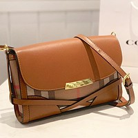 Burberry New fashion plaid leather shoulder bag crossbody bag Brown