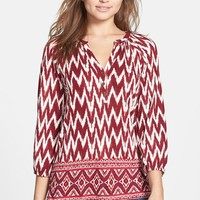 Women's Lucky Brand Diamond Border Print Jersey Top