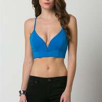 (ams) Sweetheart plunge royal blue crop top
