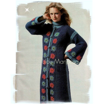 Crochet Pattern Vintage 70s Granny Squares Coat Jacket Crochet Cardigan Pattern Bohemian Clothing Crochet Sweater PDF Pattern