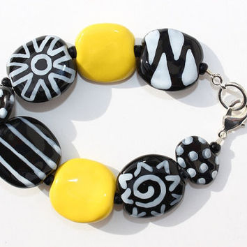 Black and Yellow Beadwork Bracelet, Ceramic Kazuri Bracelet, African Ceramic Fair Trade Beads, Dramatic Artistic Jewelry