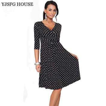 YJSFG HOUSE Plus Size Women Clothing 2017 Summer Autumn Polka Dot Office Work OL Dresses Vintage Tunic Stretchy Maternity Dress