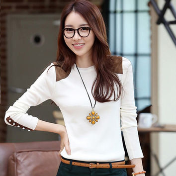 White Long Sleeve Blouse with Button Design