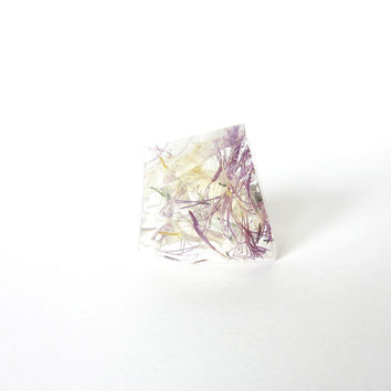 REAL FLOWER Holy Thistle resin RING. Botanical ring with wild flower